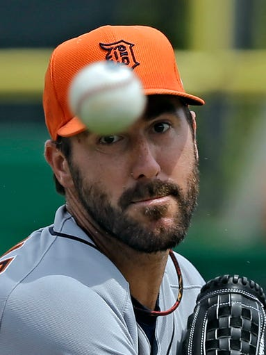 The Tigers' Justin Verlander warms up against the Phillies