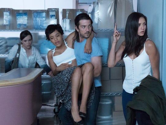 Ellen Page (far left), Kiersey Clemons, Diego Luna