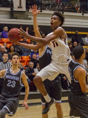 Ventura College sophomore Cordel Hankerson drives into the paint for a layup in the Pirates win over Moorpark College on Jan. 21, 2016 in Ventura