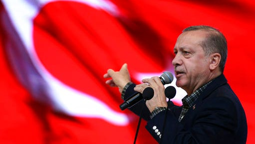 In this March 5, 2017 file-pool photo, Turkey's President Recep Tayyip Erdogan speaks in Istanbul. On a mission to rehabilitate its image, Turkey is instead inching closer to being an outcast among Western nations that seem to understand their NATO ally less and less each day.