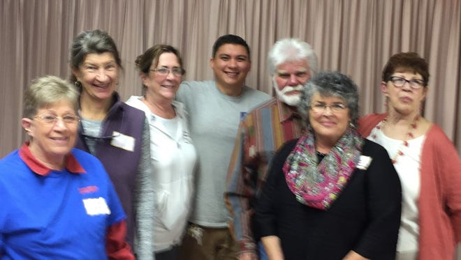 Pictured, from left: Susan Finch and Shippen Salas, Ski Apache Adaptive Sports; Sara Spoerri, Christian Services;  Abel Guzman, Humane Society; Jamie Estes, Lincoln County Food Bank; Jennifer Chadwick, Ruidoso Hospice Foundation; and Sylvia Smart, Club President.  Not pictured: Suzanne Francis, The Nest.