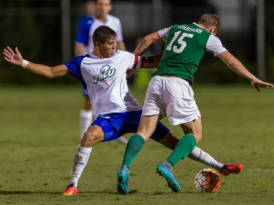 FGCU defender Aaron Guillen, pictured in 2015 against USC Upstate, was signed to a homegrown contract by FC Dallas of the MLS on Tuesday, Jan. 5.
