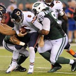 Chicago Bears quarterback Jay Cutler (6) is sacked by Jets defensive end Sheldon Richardson (91) in the third quarter of Monday's game in East Rutherford.