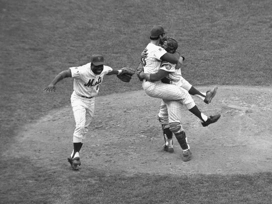 In this Oct. 16, 1969 file photo, New York Mets catcher