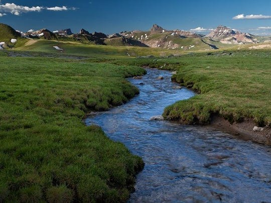 Set in the impressive skyline of the San Juan Mountains, the 102,000-acre Uncompahgre Wilderness has more than 20 13,000-foot peaks and two fourteeners in Uncompahgre Peak (14,309) and Wetterhorn Peak (14,015).