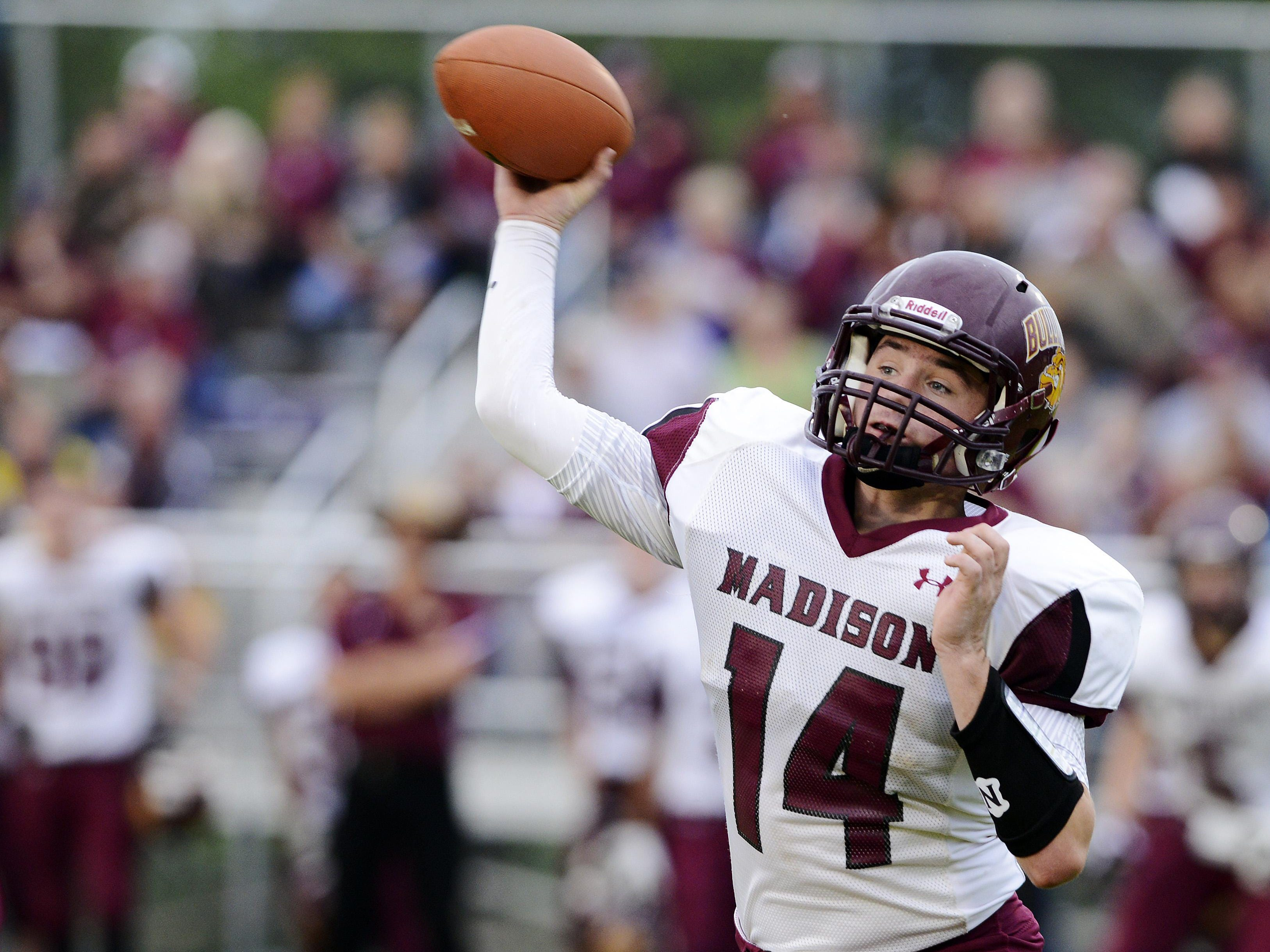 Madison quarterback Mitch Hansen, one of the state's premier signal callers, will have to contend with an experienced West Central defense Friday night.