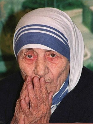 Mother Teresa, who won the Nobel Peace Prize in 1979, is shown in Hong Kong in 1993. She died in 1997.