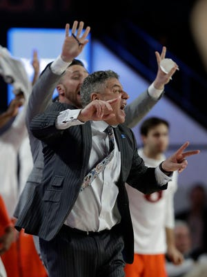 Auburn Tigers head coach Bruce Pearl is shown against Georgia in the second half of an NCAA college basketball game Saturday, Feb. 10, 2018, in Athens, Ga. Auburn won 78-61.