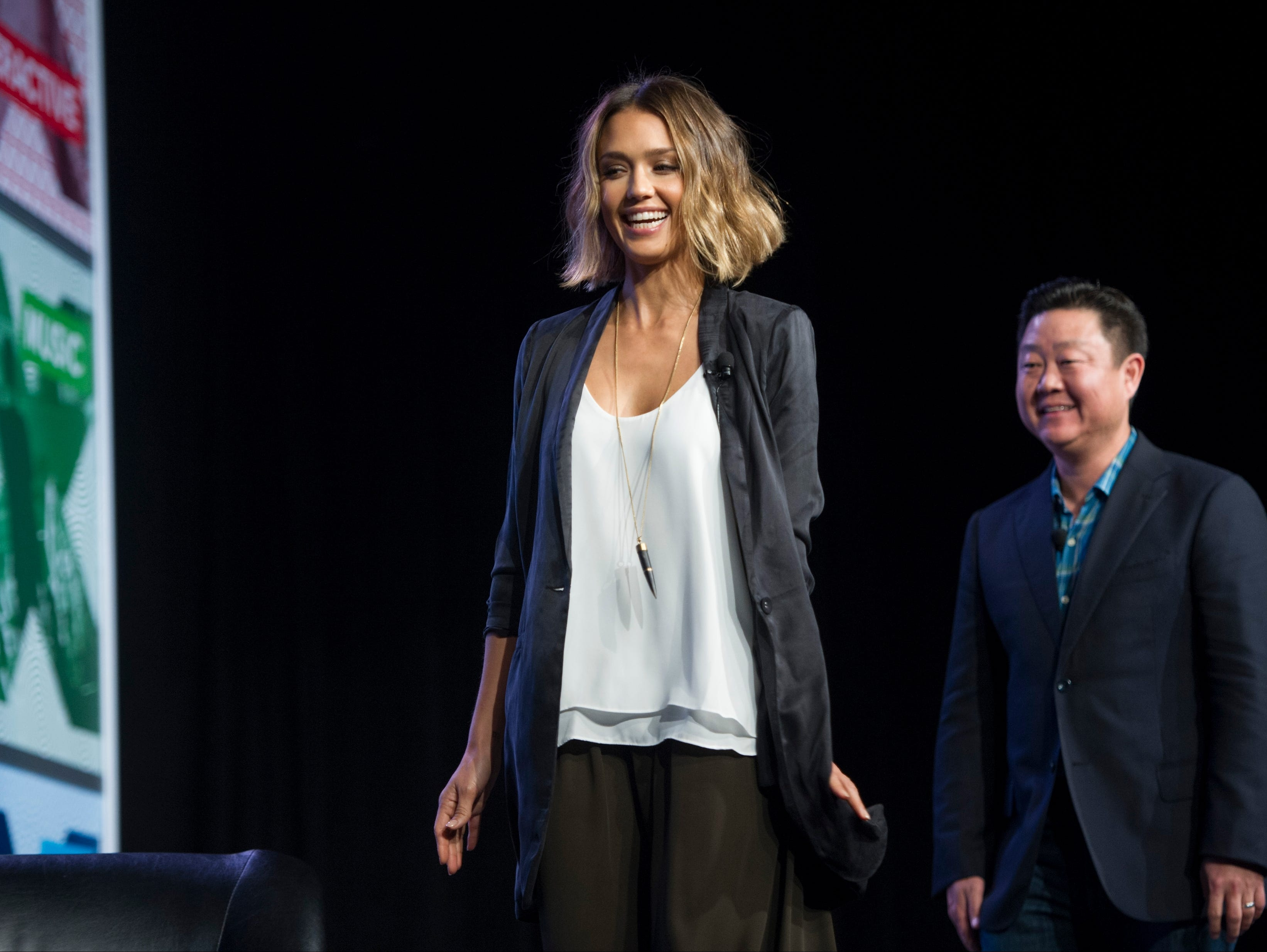 Actress Jessica Alba, founder of The Honest Company, and Brian Lee CEO & Co-Founder, The Honest Company, take the stage during SXSW panel