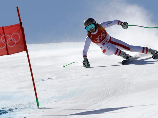 Austria's AnnaVeith competes in the women's super-G at the 2018 Winter Olympics in Jeongseon, South Korea, Saturday, Feb. 17, 2018. (AP Photo/Luca Bruno)