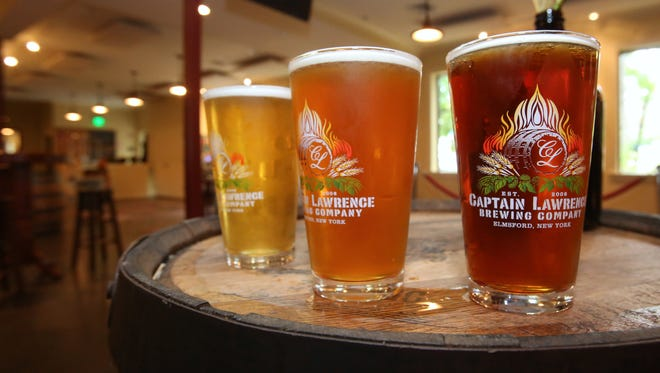 A selection of beers in the tasting room at the Captain Lawrence Brewery in Elmsford.