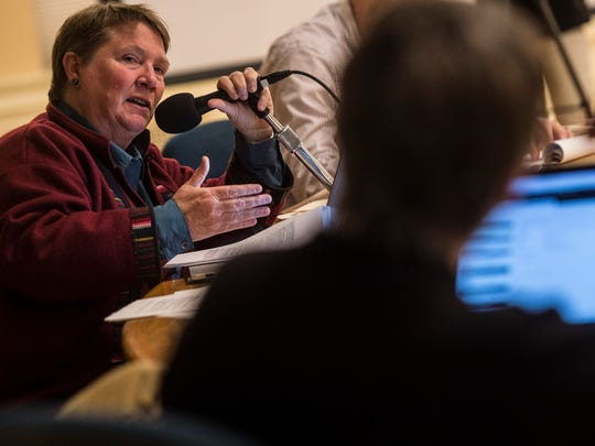 Eileen Blackwood, Burlington city attorney, answers questions from City Councilor Jane Knodell during a meeting of the ad hoc committee of the council Tuesday night to hear a first draft of a fair and impartial policing policy from Burlington Police Chief Brandon del Pozo.