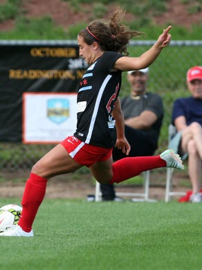 Women's Professional Soccer League game between the SkyBlue FC and the Chicago Red Stars played at Yurcak Field at Rutgers University in Piscataway Sunday June 28,2015.Former Red Bank Catholic High School star Danielle Colaprico # 24 for the Chicago Red Stars goes to kick the ball up field.