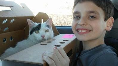 Steven the cat was reunited with her family Thursday after she was rescued by Fond du Lac Fire/Rescue from a burning house on Monday.