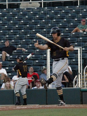 Bradenton Marauders left fielder Michael Suchy, a fifth-round draft pick out of Florida Gulf Coast University bats against the Fort Myers Miracle during opening night of the Florida State League at Hammond Stadium on Thursday, April 7, 2016. (J. Scott Butherus/Staff)