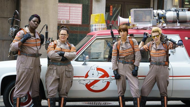 "In this image released by Sony Pictures, from left, Leslie Jones, Melissa McCarthy, Kristen Wiig and Kate McKinnon appear in a scene from the film, ""Ghostbusters,"" opening nationwide on July 15."