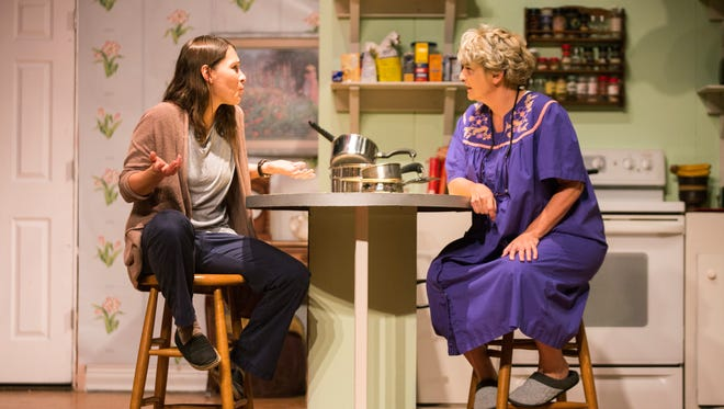 Erin Laughlin as Mama, right, and Rachel Borwein as Jessie during a rehearsal of The Studio Players' production of 'night, Mother at the Golden Gate Community Center in Naples on Monday, Oct. 16, 2017.