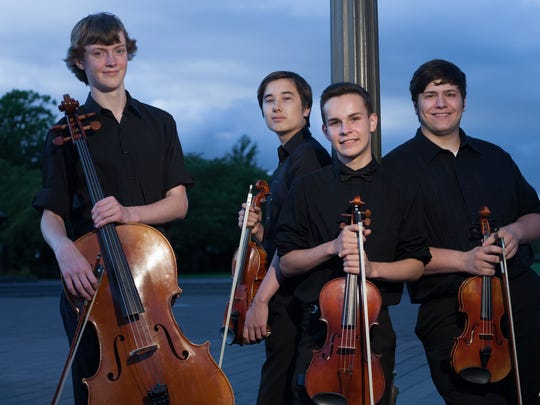 "Etherius String Quartet members Hendrik Mobley, from left, Joseph Miletta, Nicholas Silver and Damon Zavala will perform in ""In My Life — A Musical Theatre Tribute to the Beatles"" on Oct. 24 at the Historic Elsinore Theatre."