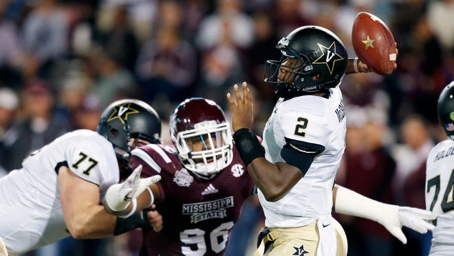 Pressure from Mississippi State defensive lineman Chris Jones (96) contributed to Vanderbilt quarterback Johnny McCrary's difficult day Saturday.