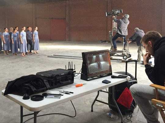 """Choreographer Andrew Winghart on the set of his """"Cry"""