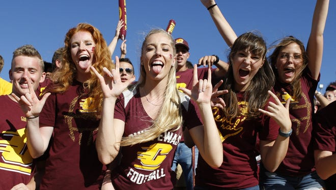 Central Michigan football fans at Kelly-Shorts Stadium on Sept. 17, 2016 against UNLV.