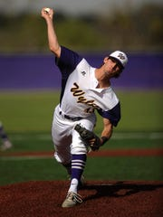 Wylie pitcher Tyler Henson (43) throws a pitch during the top of the first inning of the Bulldogs' 13-3 win on Friday, March 24, 2017, at Wylie High School.