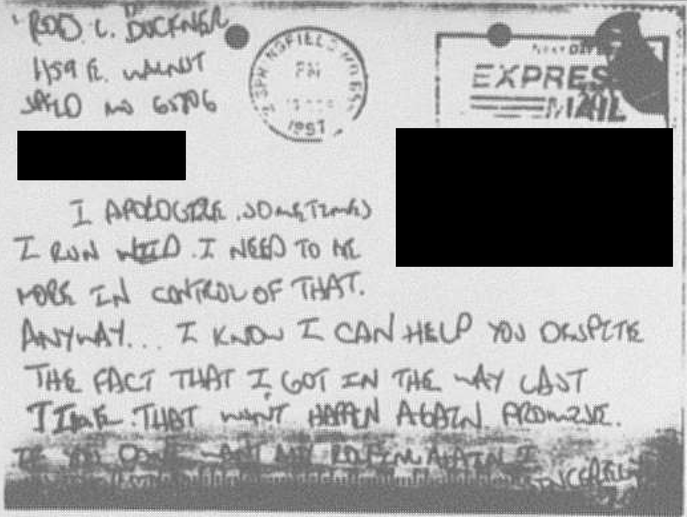 A woman said she received this postcard from Rod Buckner