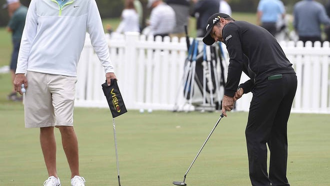 A golfer works on his putting on Monday for the Sanders Farms Championship at the Country Club of Jackson in Jackson.