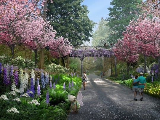 The proposed master design plan for the Indianapolis Museum of Art's 152-acre grounds includes a proposed linear garden that retraces the interurban rail that used to cross the historic property.