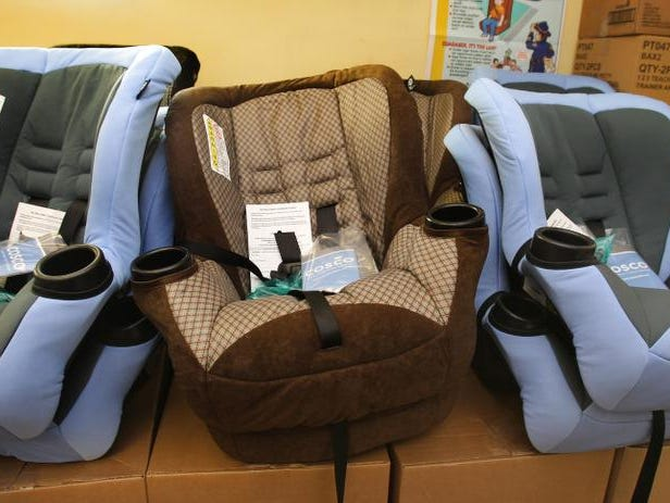 Child-safety seats are displayed at the B.A.B.E. store in the Forest Manor Community Health Center, 3840 N. Sherman Drive, Indianapolis.