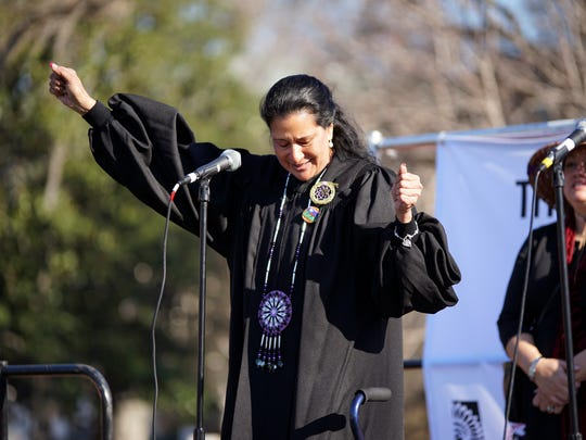 NHBP Tribal Court Chief Judge Melissa Pope gives a