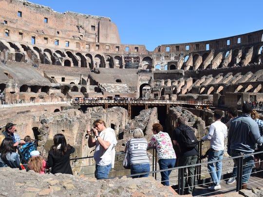 A photograph of the Roman Colosseum by Michigan linebacker
