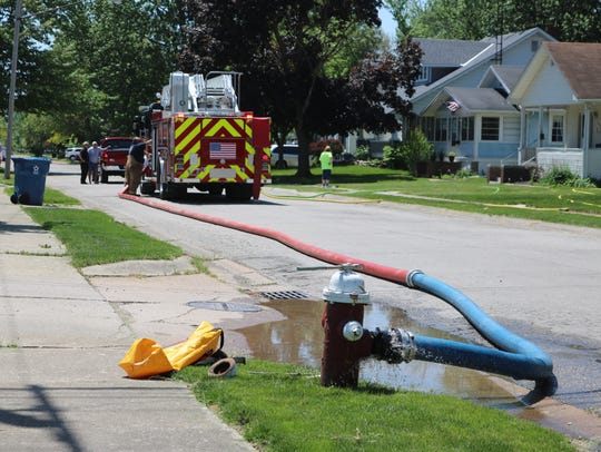 A garage fire at 618 Jackson Drive in Port Clinton