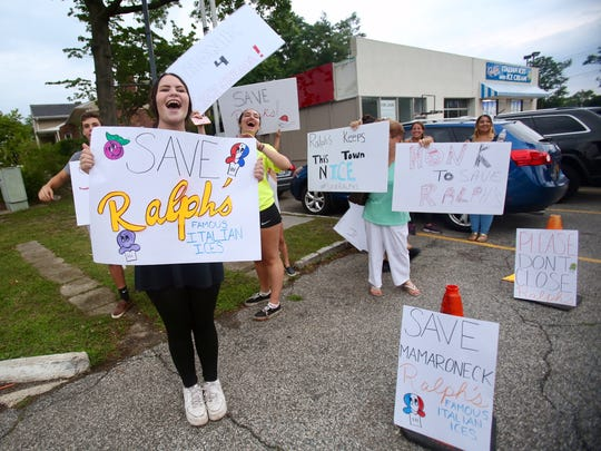 Kasey Byrne, 19, an Employee of Ralph's Italian Ices and Ice Cream, protests the closing of the ice cream shop in Mamaroneck, July 13, 2017.