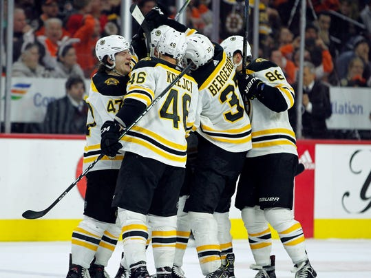 The Boston Bruins celebrate the goal by Patrice Bergeron who scored to tie an NHL hockey game against the Philadelphia Flyers with less than four seconds remaining in the third period of an NHL hockey gam,e Sunday, April 1, 2018 in Philadelphia. The Flyers won 4-3 in overtime. (AP Photo/Tom Mihalek)