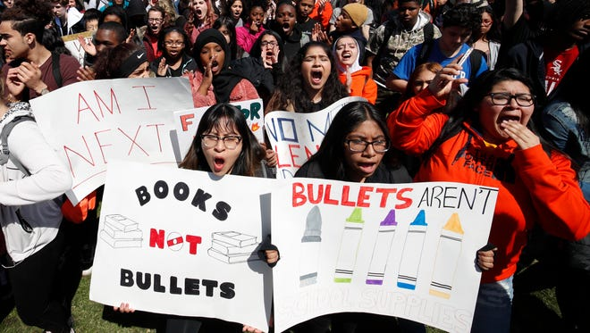 Students gather for a rally on National School Walkout Day to protest school violence on April 20, 2018 in Chicago.