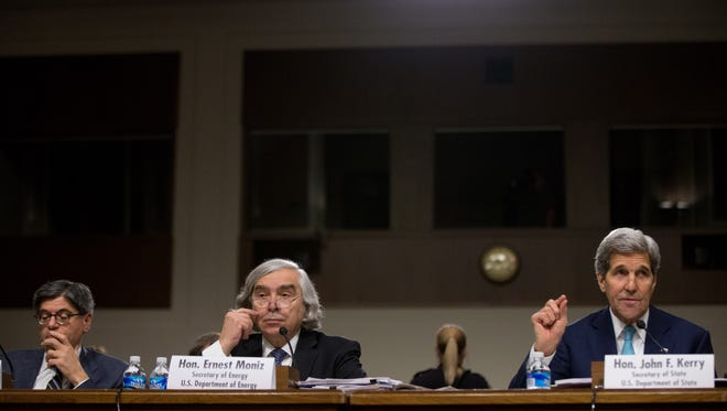 Secretary of State John Kerry, testified with Secretary of Energy Ernest Moniz, left, and  left, Secretary of Treasury Jack Lew, far left, at a Senate Foreign Relations Committee hearing on Capitol Hill in Washington on Thursday, July 23, 2015, to review the Iran nuclear agreement.