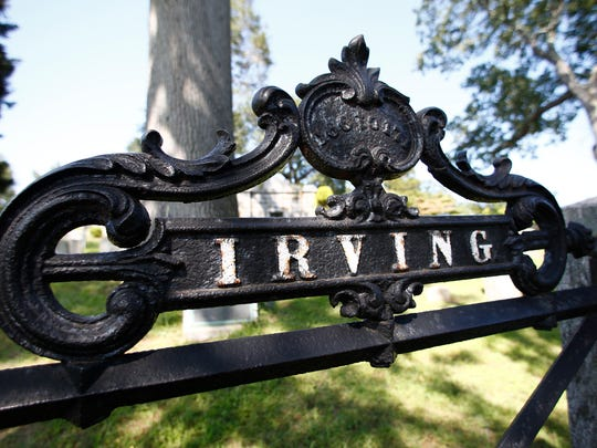 The entrance to the Irving family burial site at Sleepy Hollow Cemetery in Sleepy Hollow on Wednesday, August 30, 2017.