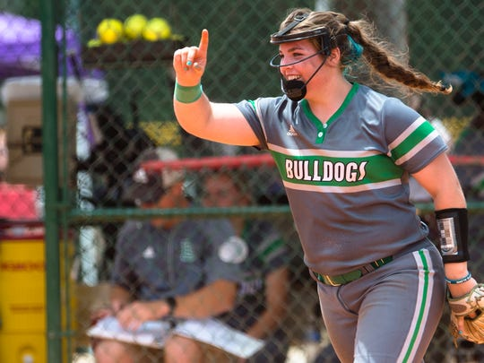 Brantley's Leanna Johnson celebrates after a strike out during the AHSAA State Championship tournament game between Brantley and South Lamar on Wednesday, May 16, 2018, in Montgomery, Ala.