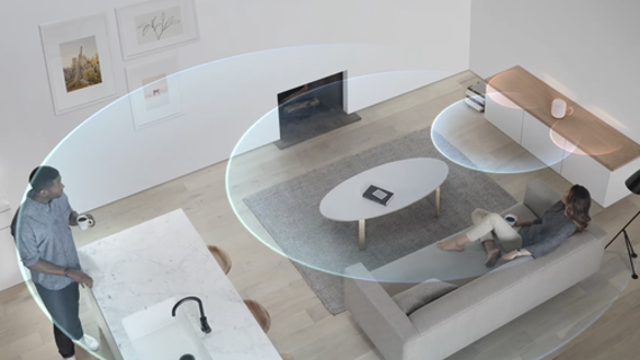 Visualization of HomePod and sound waves in a room