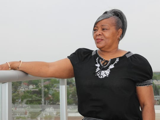 Annette Hines, photographed on the roof deck of the