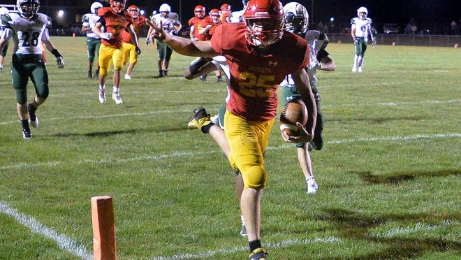 Girard High School sophomore Gunner Bax crosses the goal line for a touchdown against Mercyhurst Prep at Battles Memorial Field on Sept. 11, 2020, in Girard. The YellowJackets won 42-21 and will visit rival Fairview on Friday