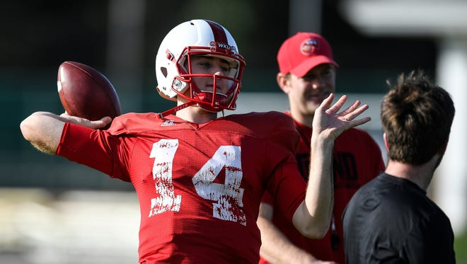 WKU Hilltoppers quarterback Mike White (14) WKU Hilltoppers football team finishes up practice #1 at ST. Andrews School for Boca Raton Bowl on December 20, 2016