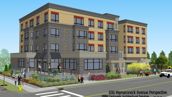 A rendering of a new mixed-use development planned for 690 Mamaroneck Ave.