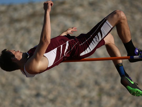 Logen Casavant of Rancho Mirage High school clears the boys high jump at 5 feet 10 inches on the first attempt during the De Anza League track and field finals held Thursday, May 5, 2016, at Rancho Mirage High School.