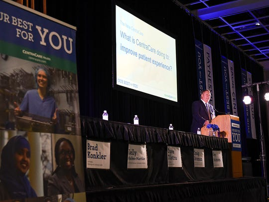 Dr. Ken Holmen, president and CEO of CentraCare Health, gives an annual report of the health care system Wednesday, Oct. 19, at the River's Edge Convention Center.