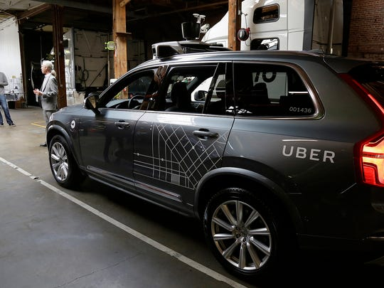 In this Dec. 13, 2016, file photo, an Uber driverless