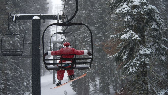Snow fell at the Boreal Mountain Resort in Lake Tahoe before Christmas day.