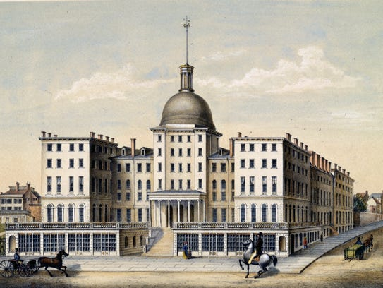 Lithography print of the Burnet House at Third and