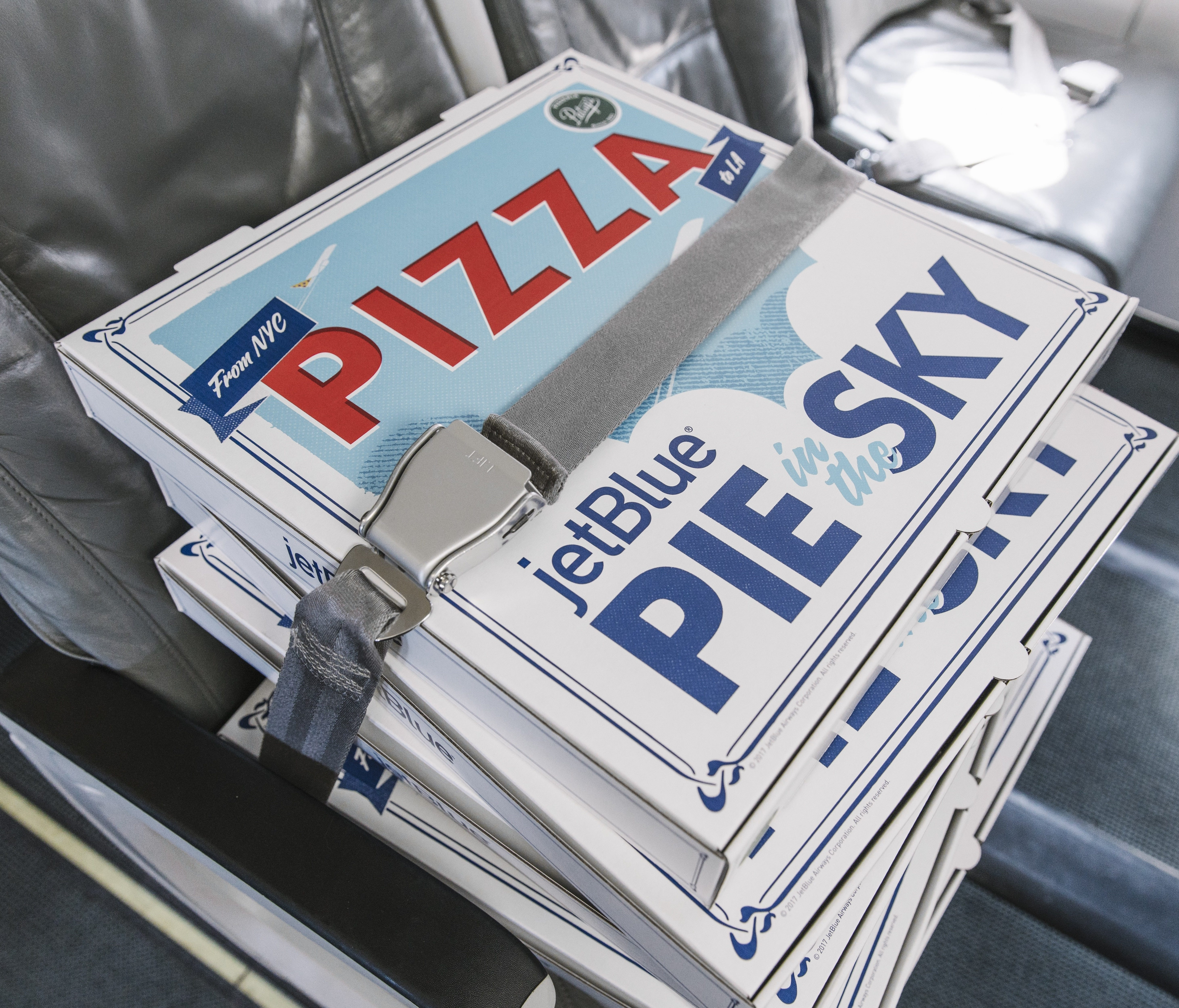 As part of a promotion, JetBlue plans to deliver hot, fresh pizzas from New York to customers in Los Angeles.